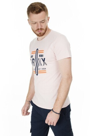 Buratti Slim Fit Baskılı Bisiklet Yaka Erkek T Shirt ABY38119LNS PUDRA