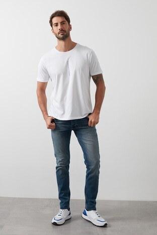 Buratti Slim Fit Dar Paça Pamuklu Jeans Erkek Kot Pantolon 7293H875BARTEZ MAVİ