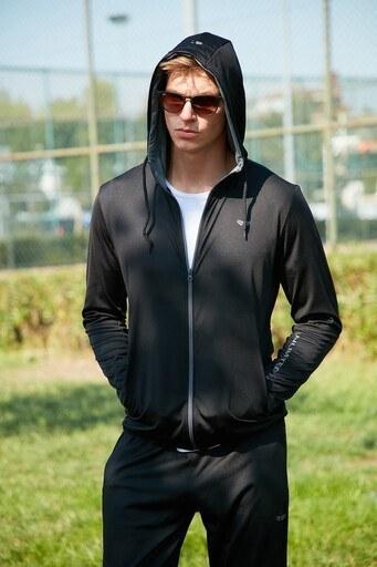 Buratti Slim Fit Kapüşonlu Spor Eşofman Üstü Erkek Sweat 5658001S SİYAH