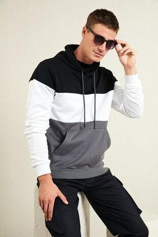 Buratti - Buratti Slim Fit Renk Bloklu Kanguru Cepli Kapüşonlu Erkek Sweat 5896591 Siyah-Beyaz-Antrasit