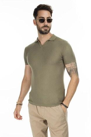 Buratti - Buratti Slim Fit Triko T Shirt Erkek Polo ABK61005LNS HAKİ