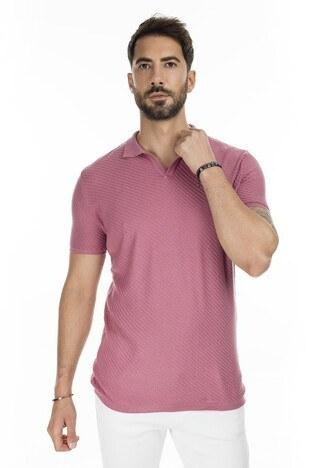 Buratti - Buratti Slim Fit Triko T Shirt Erkek Polo ABK61005LNS PEMBE