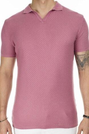 Buratti Slim Fit Triko T Shirt Erkek Polo ABK61005LNS PEMBE