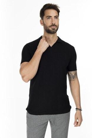 Buratti - Buratti Slim Fit Triko T Shirt Erkek Polo ABK61005LNS SİYAH