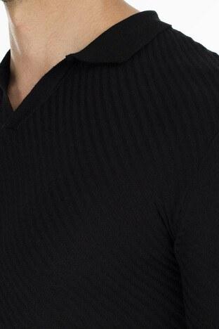 Buratti Slim Fit Triko T Shirt Erkek Polo ABK61005LNS SİYAH