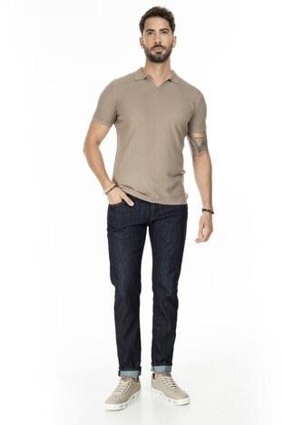 Buratti Slim Fit Triko T Shirt Erkek Polo ABK61005LNS VİZON