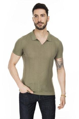Buratti - Buratti Triko T Shirt Erkek Polo ABK61002LNS HAKİ