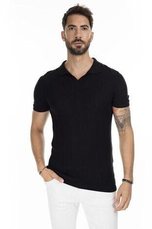 Buratti - Buratti Triko T Shirt Erkek Polo ABK61002LNS SİYAH