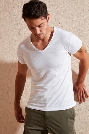 Buratti - Buratti V Yaka Erkek T Shirt 54159 BEYAZ