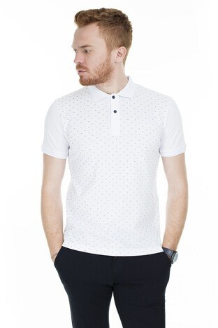 Buratti - Buratti Yaka T Shirt Erkek Polo 4362065 BEYAZ