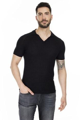 Buratti Yaka Triko T Shirt Erkek Polo ABK61004LNS SİYAH