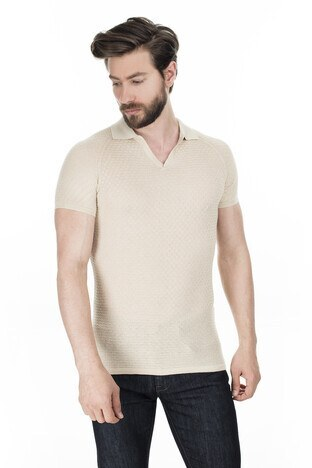Buratti - Buratti Yaka Triko T Shirt Erkek Polo ABK61004LNS TAŞ