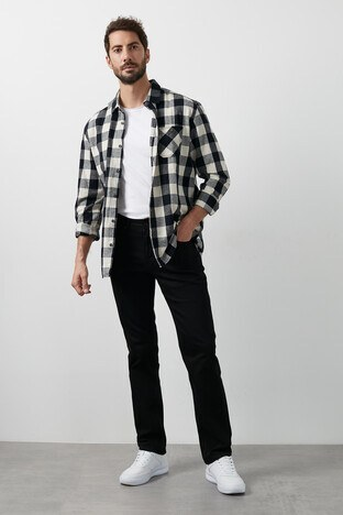 Buratti Yüksek Bel Regular Fit Boru Paça Pamuklu Jeans Erkek Kot Pantolon 7421N185KING SİYAH