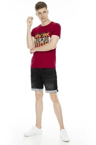 Cazador Baskılı Bisiklet Yaka Erkek T Shirt CDR 4033 BORDO