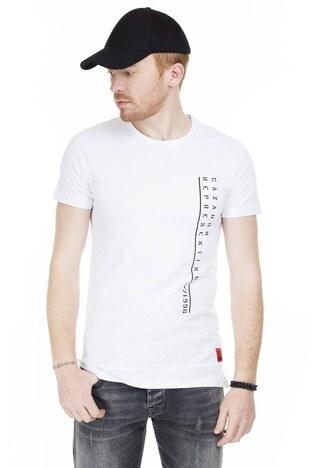 Cazador - Cazador Baskılı Bisiklet Yaka Slim Fit Erkek T Shirt CAZ 4046 BEYAZ