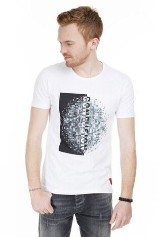 Cazador - Cazador Baskılı Bisiklet Yaka Slim Fit Erkek T Shirt CAZ 4074 BEYAZ