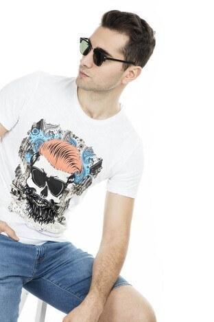 Cazador - Cazador Baskılı Erkek T Shirt CDR 4029 BEYAZ
