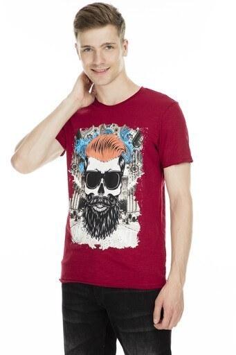 Cazador Baskılı Erkek T Shirt CDR 4029 BORDO
