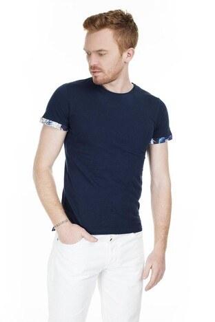 Cazador - Cazador Bisiklet Yaka Erkek T Shirt CAZ 4014 LACİVERT