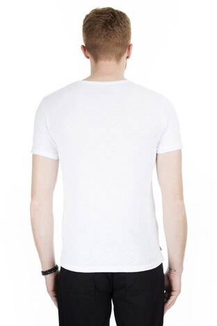 Cazador Bisiklet Yaka Erkek T Shirt CAZ 4045 BEYAZ