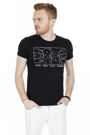 Cazador Bisiklet Yaka Erkek T Shirt CAZ 4072 SİYAH