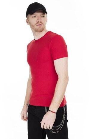 Cazador Bisiklet Yaka Erkek T Shirt CAZ 4189 BAYRAK KIRMIZI