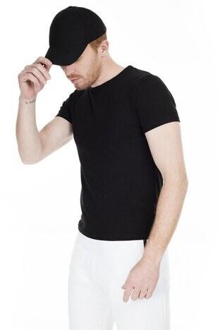 Cazador Bisiklet Yaka Erkek T Shirt CAZ 4189 SİYAH