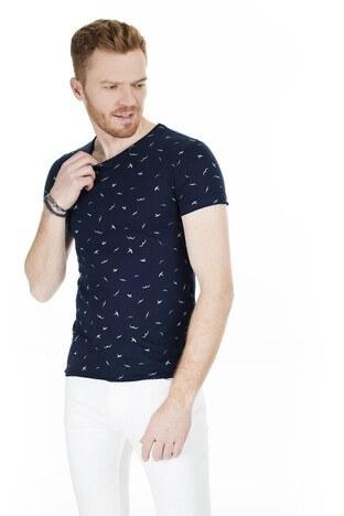 Cazador - Cazador Bisiklet Yaka Erkek T Shirt CAZ 4221 LACİVERT