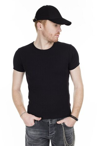 Cazador - Cazador Bisiklet Yaka Erkek T Shirt CAZ 4604 SİYAH