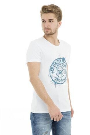 Cazador Bisiklet Yaka Erkek T Shirt CDR 4082 BEYAZ