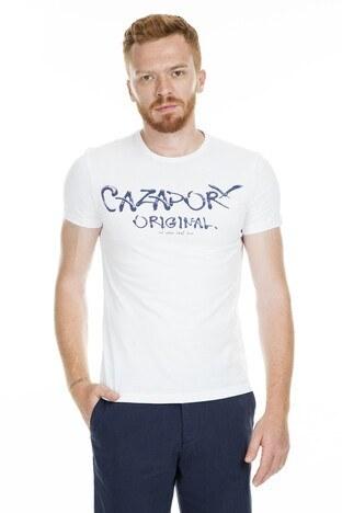 Cazador Bisiklet Yaka Erkek T Shirt CDR4080 BEYAZ
