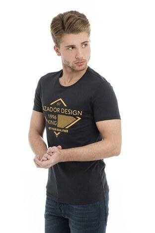 Cazador Bisiklet Yaka Erkek T Shirt CDR4149 SİYAH