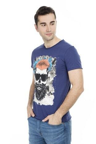Cazador - Cazador Baskılı Erkek T Shirt CDR 4029 LACİVERT
