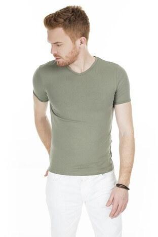 Cazador - Cazador V Yaka Erkek T Shirt CAZ 4619 HAKİ