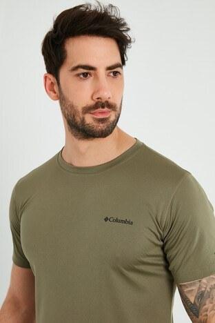 Columbia Marka Logolu Bisiklet Yaka Erkek T Shirt AM6084-397 YEŞİL