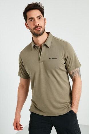 Columbia - Columbia Marka Logolu Düğmeli T Shirt Erkek Polo AO3006-365 YEŞİL