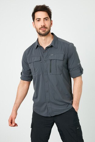 Columbia Marka Logolu Düz Yaka Cepli Erkek Gömlek AO0762-011 SİYAH