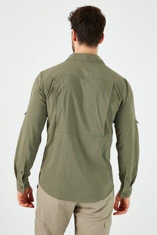 Columbia Marka Logolu Düz Yaka Cepli Erkek Gömlek AO0762-397 YEŞİL