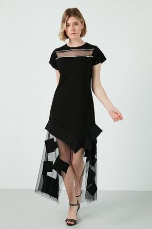 Dqmane % 100 Pamuklu Asimetrik Kesim Tül ve Taş Detaylı Bayan Elbise 429441253 SİYAH