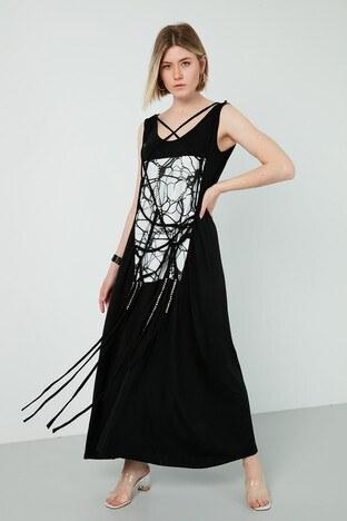 Dqmane - Dqmane % 100 Pamuklu Baskılı Taş Detaylı Maxi Bayan Elbise 429441239 SİYAH