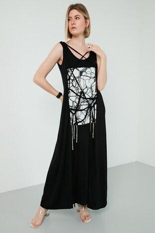 Dqmane % 100 Pamuklu Baskılı Taş Detaylı Maxi Bayan Elbise 429441239 SİYAH