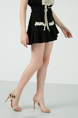 Dqmane % 100 Pamuklu Taş ve Örgü Detaylı Mini Bayan Short 429431482 SİYAH