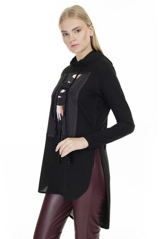 Dqmane Baskılı % 100 Pamuklu İp Detaylı Kapüşonlu Yırtmaçlı Bayan Bluz 429321074 SİYAH