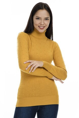 Fashion Friends - Fashion Friends Balıkçı Yaka Bayan Kazak K0784 HARDAL