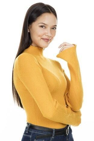 Fashion Friends Balıkçı Yaka Bayan Kazak K0985 HARDAL