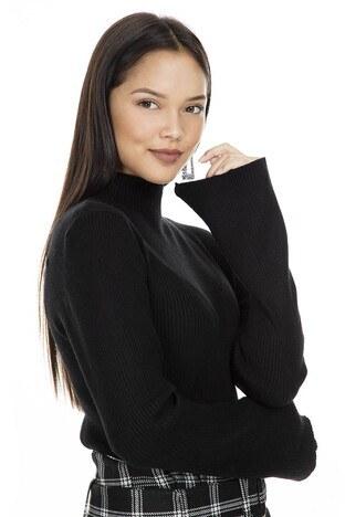 Fashion Friends Balıkçı Yaka Bayan Kazak K0985 SİYAH
