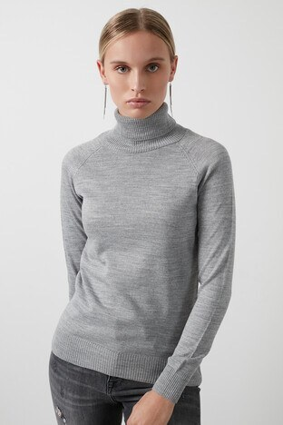 Fashion Friends Balıkçı Yaka Triko Bayan Kazak 20K0401B1 GRİ MELANJ