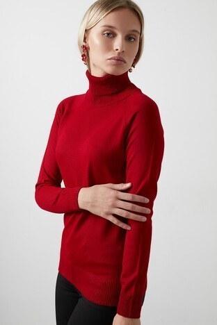 Fashion Friends - Fashion Friends Balıkçı Yaka Triko Bayan Kazak 20K0401B1 KIRMIZI