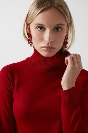 Fashion Friends Balıkçı Yaka Triko Bayan Kazak 20K0401B1 KIRMIZI