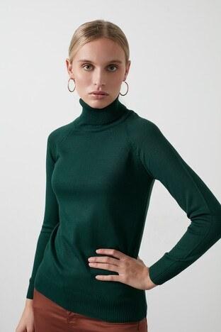 Fashion Friends - Fashion Friends Balıkçı Yaka Triko Bayan Kazak 20K0401B1 YEŞİL
